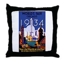 Chicago Worlds Fair 1934 Throw Pillow