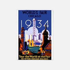 Chicago Worlds Fair 1934 5'x7'Area Rug
