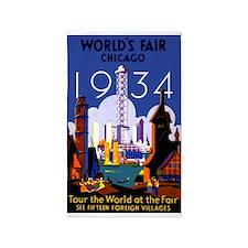 Chicago Worlds Fair 1934 3'x5' Area Rug