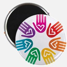 "Rainbow Heart Hand Circle 2.25"" Magnet (100 pack)"