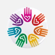 "Rainbow Heart Hand Circle 3.5"" Button"