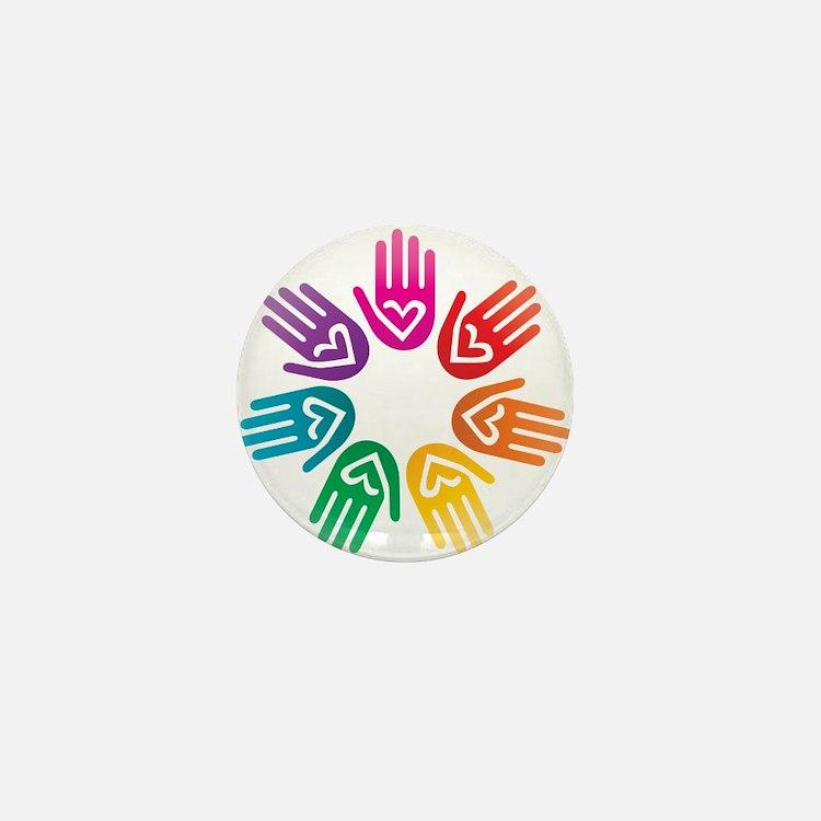 Rainbow Heart Hand Circle Mini Button
