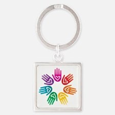 Rainbow Heart Hand Circle Keychains