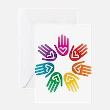 Rainbow Heart Hand Circle Greeting Card