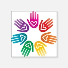 Rainbow Heart Hand Circle Sticker
