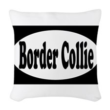 border collie euro1 Woven Throw Pillow