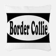 border collie euro1 Woven Throw Pillow