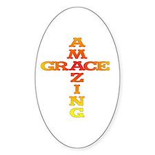 Amazing Grace cross Oval Decal
