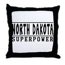 North Dakota Superpower Designs Throw Pillow