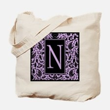 India Inspired Purple and Black Letter N Tote Bag