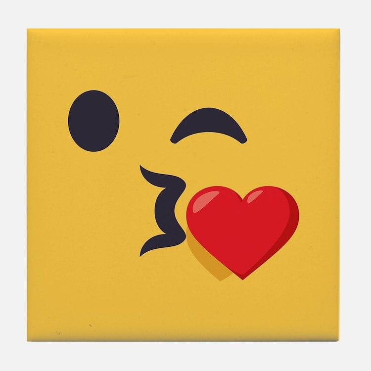 Winky Kiss Emoji Face Tile Coaster