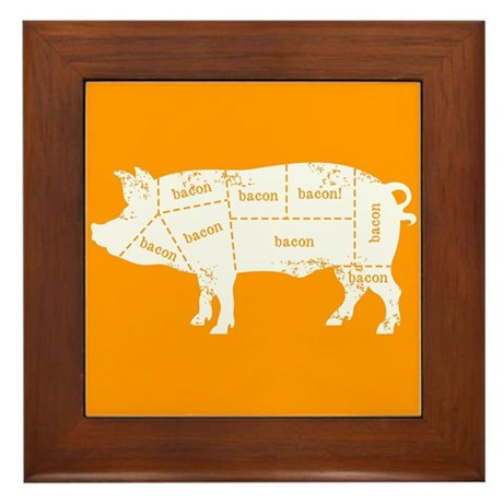 Bacon Pig Framed Tile
