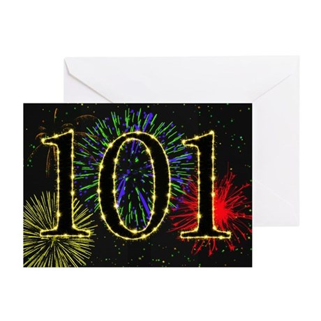 101st Birthday with fireworks 10 Greeting Cards