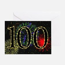 100th Birthday card with fireworks Greeting Card