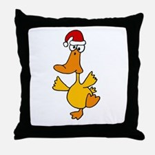 Dancing Duck in Santa Hat Throw Pillow