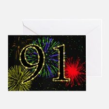 91st birthday with fireworks Greeting Card
