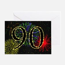 90th birthday with fireworks Greeting Card