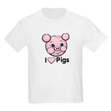 I Love Pink Heart Pigs Cute T-Shirt