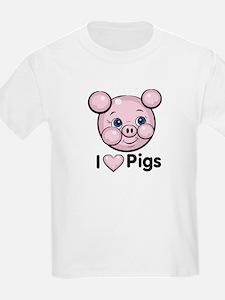 I Love Pink Heart Pigs Cute T-Shirt