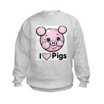 I Love Pink Heart Pigs Cute Kids Sweatshirt
