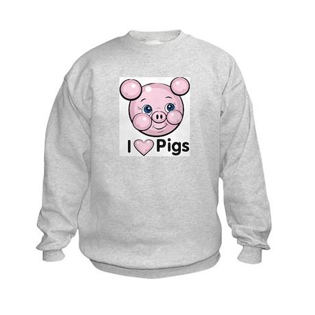 I Love Pink Heart Pigs Cute Kids Sweatshirt