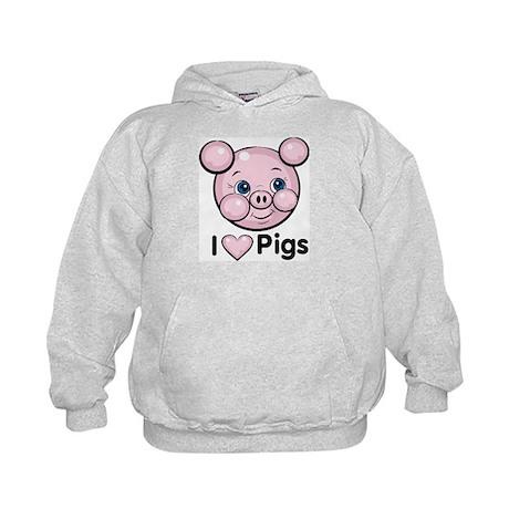 I Love Pink Heart Pigs Cute Kids Hoodie