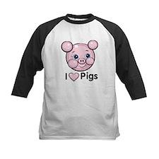I Love Pink Heart Pigs Cute Tee