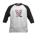 I Love Pink Heart Pigs Cute Kids Baseball Jersey