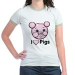 I Love Pink Heart Pigs Cute Jr. Ringer T-Shirt