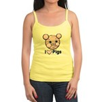 I Love Pink Heart Pigs Cute Jr. Spaghetti Tank