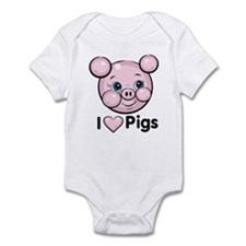 I Love Pink Heart Pigs Cute Infant Bodysuit