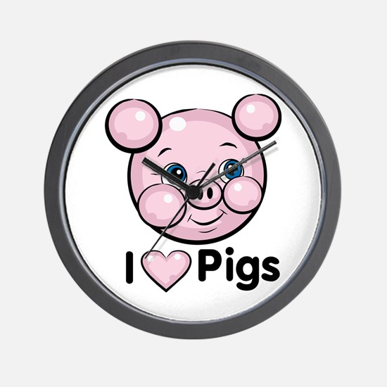 I Love Pink Heart Pigs Cute Wall Clock