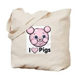 I Love Pink Heart Pigs Cute Tote Bag