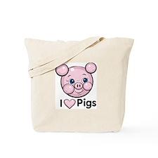 I Love Pink Heart Pigs Cute Tote Bag