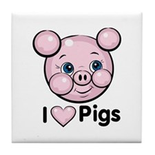 I Love Pink Heart Pigs Cute Tile Coaster