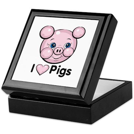 I Love Pink Heart Pigs Cute Keepsake Box