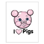 I Love Pink Heart Pigs Cute Small Poster