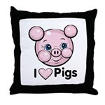 I Love Pink Heart Pigs Cute Throw Pillow