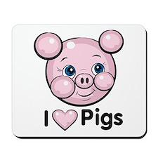 I Love Pink Heart Pigs Cute Mousepad