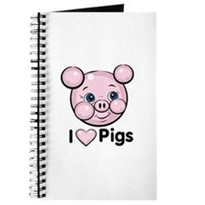 I Love Pink Heart Pigs Cute Journal