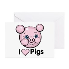 I Love Pink Heart Pigs Cute Greeting Cards (Packag