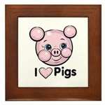 I Love Pink Heart Pigs Cute Framed Tile