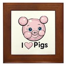 I Love Pink Heart Pigs Cute Framed Tile