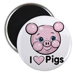 I Love Pink Heart Pigs Cute Magnet