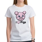 I Love Pink Heart Pigs Cute Women's T-Shirt