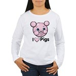 I Love Pink Heart Pigs Cute Women's Long Sleeve T-