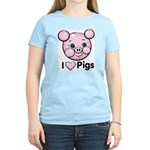 I Love Pink Heart Pigs Cute Women's Light T-Shirt