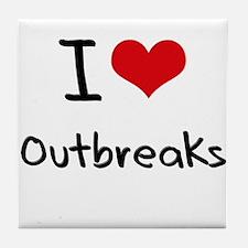 I Love Outbreaks Tile Coaster