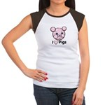I Love Pink Heart Pigs Cute Women's Cap Sleeve T-S