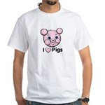I Love Pink Heart Pigs Cute White T-Shirt